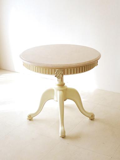 輸入家具 オーダー家具 プリンセス家具 マダム・ココ ラウンドテーブル 70 1本脚 イニシャルBの彫刻 アンティークホワイト&ゴールド 大理石天板 クリームベージュ H65cm