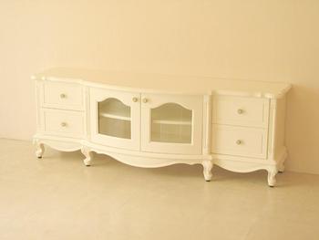 輸入家具■オーダー家具■プリンセス家具■テレビボード■ラウンドタイプ■彫刻なし■ホワイト色