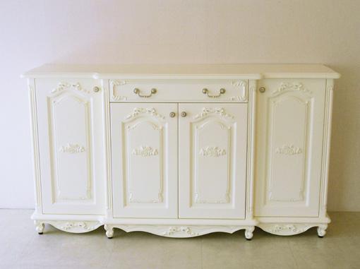 輸入家具 オーダー家具 プリンセス家具 ラ・シェル サイドボード 4枚扉 引出1杯 薔薇とオードリーリボンの彫刻 ホワイト色