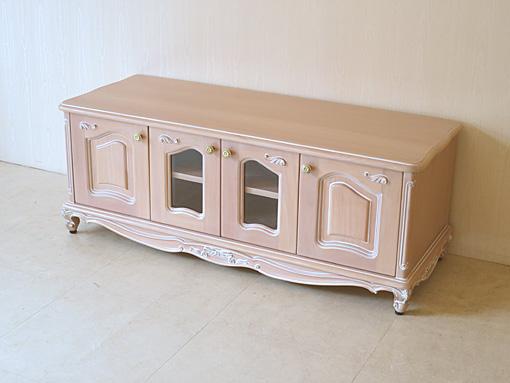 輸入家具 オーダー家具 プリンセス家具 ラ・シェル ローボード W120 オードリーリボンの彫刻 ピンクベージュ色