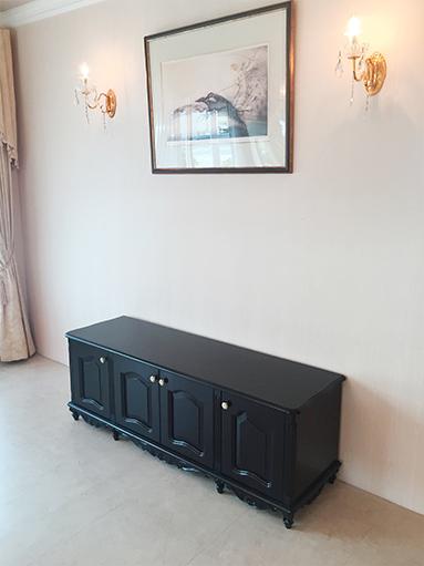 輸入家具 オーダー家具 プリンセス家具 ラ・シェル ローボード W150 4枚板扉 ダークブラウン色