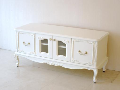 輸入家具 オーダー家具 プリンセス家具 ラ・シェル ローボード W120cm 左右引出し付き ホワイト色