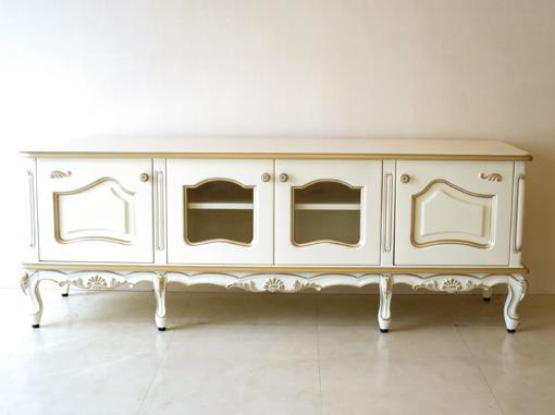 輸入家具 オーダー家具 プリンセス家具 ラ・シェル ローボード W160 アンティークホワイト&ゴールド色 脚の長さ18.5cm