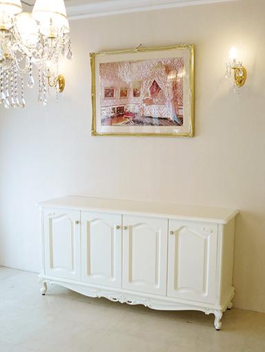 輸入家具 オーダー家具 プリンセス家具 ラ・シェル サイドボード W158cm 4枚扉 ビバリーヒルズの彫刻 ホワイト色
