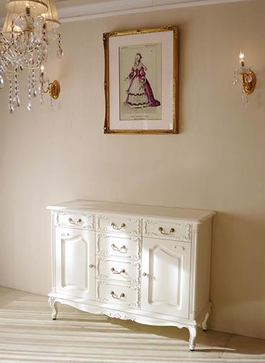 輸入家具 オーダー家具 プリンセス家具 サイドボード W120cm 2枚扉 引出し6杯 ホワイト色 シェルの彫刻