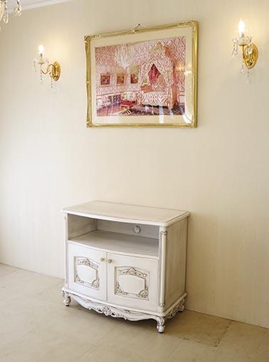 輸入家具 オーダー家具 プリンセス家具 ビバリーヒルズ TVボード W85cm×H75cm 収納スペース ホワイト&ブラックアンティーク色