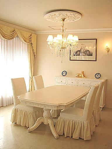 輸入家具 オーダー家具 プリンセス家具 ベルサイユ ダイニングテーブル W2100×D1100×H720 マダム・ココ色