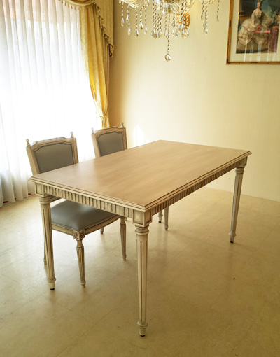 輸入家具 オーダー家具 プリンセス家具 マダム・ココ ダイニングテーブル W140×D80 ホワイトブラックアンティーク色