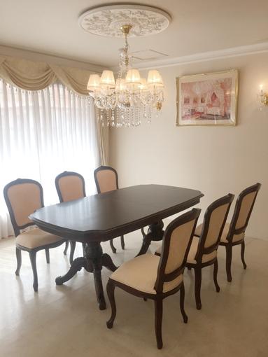 輸入家具 オーダー家具 ベルサイユ ダイニングテーブル 伸長式190-238cm ブラウン色
