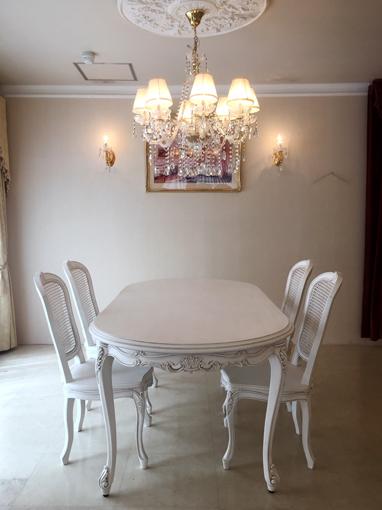 輸入家具■オーダー家具■ラ・シェル ダイニングテーブル■W200cm■ビバリーヒルズの彫刻■マダム・ココ色