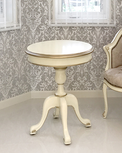 輸入家具 オーダー家具 プリンセス家具 ラウンド ティーテーブル 60cm シンプルデザイン アンティークホワイト&ゴールド色