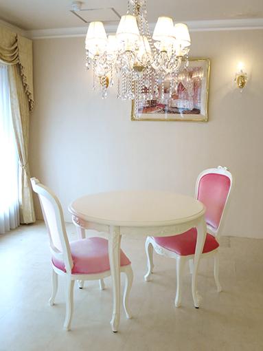 輸入家具 オーダー家具 プリンセス家具 ビバリーヒルズ ダイニングテーブル ラウンド 100cm オードリーリボンの彫刻
