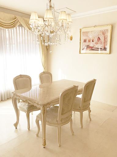 輸入家具 オーダー家具 プリンセス家具 ビバリーヒルズ ダイニングテーブル W150×D85 クリームベージュ大理石天板 アンティークピンクベージュ&ゴールド色