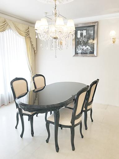 輸入家具 オーダー家具 プリンセス家具 ラ・シェル ダイニングテーブル 180cm ブラックグロス色