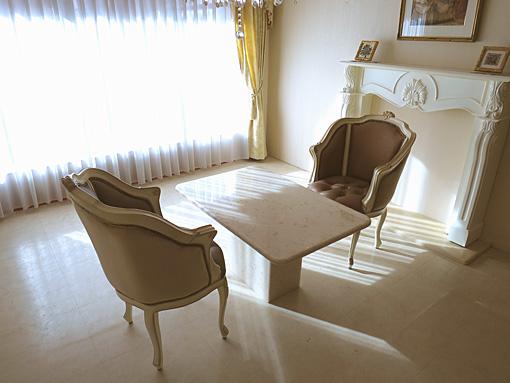 輸入家具 オーダー家具 プリンセス家具 大理石 センターテーブル クリームベージュ色