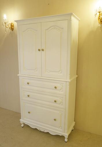 輸入家具 オーダー家具 プリンセス家具 キャビネット ビバリーヒルズの彫刻 スーパーホワイト色 W90×H180