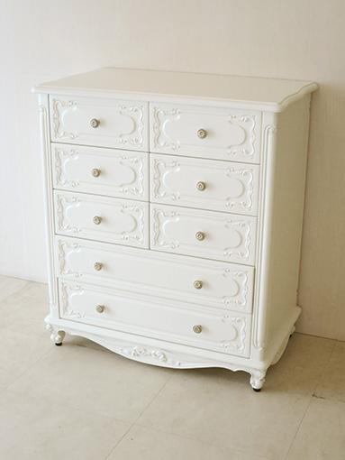 輸入家具 オーダー家具 プリンセス家具 チェスト W80cm 引出し5段8杯 ホワイト色 オードリーリボンの彫刻
