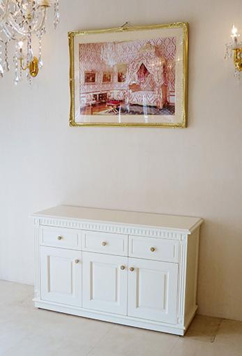 輸入家具 オーダー家具 プリンセス家具 マダム・ココ サイドボード W117cm ホワイト色