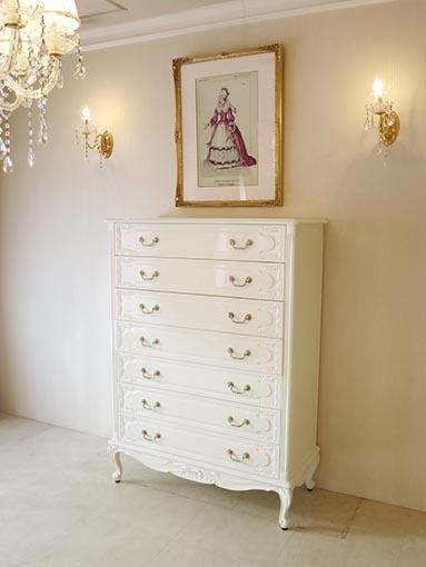輸入家具 オーダー家具 プリンセス家具 チェスト H138cm 引出し7段 オードリーリボンの彫刻 ホワイトグロス色