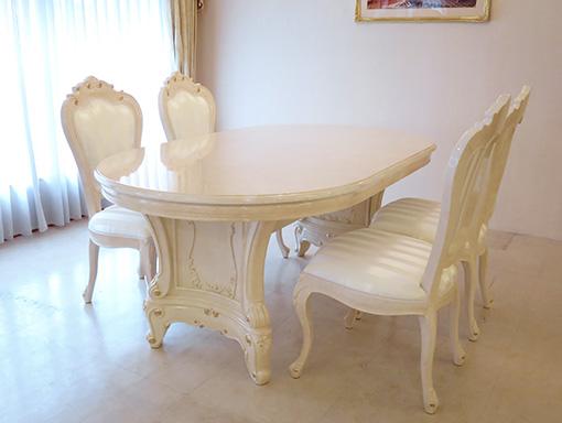 輸入家具 オーダー家具 プリンセス家具 イタリアスタイル家具 アドニス ダイニングテーブル ロッソ&ゴールド色 単品