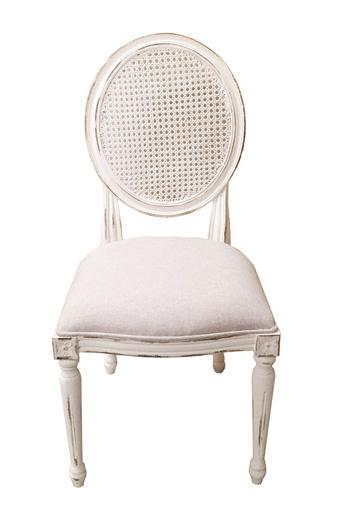 輸入家具 オーダー家具 シャビーシック ブランデコール エヴァ ダイニングチェア ラタン パリシャンホワイト色