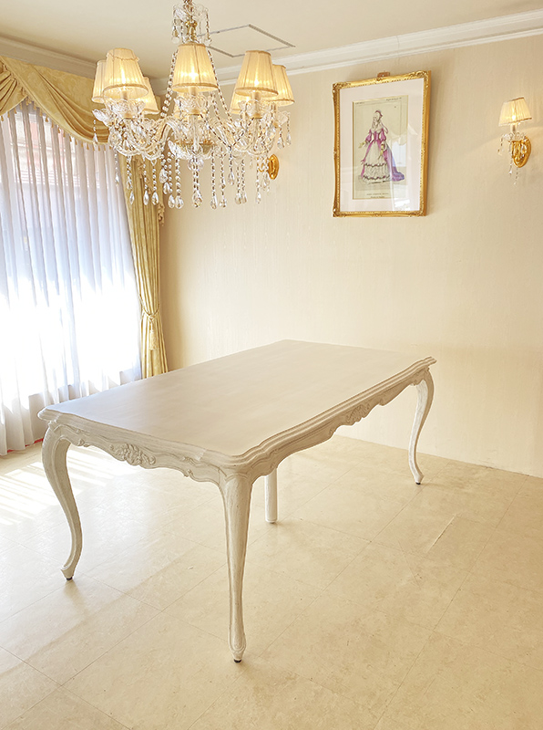 ★New!★輸入家具 オーダー家具 シャビーシック サラ ダイニングテーブル180 中央サポート脚追加 ホワイトウォッシュラスティック色