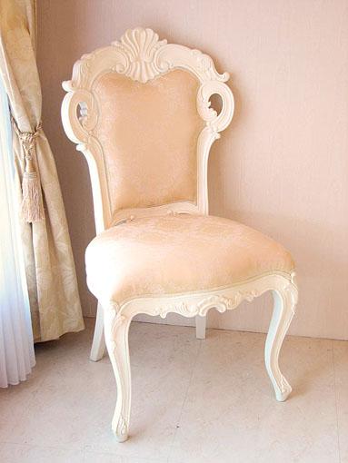 輸入家具 オーダー家具 白家具 ビバリーヒルズ プリンセス家具 ダイニングチェア シャンパンゴールド