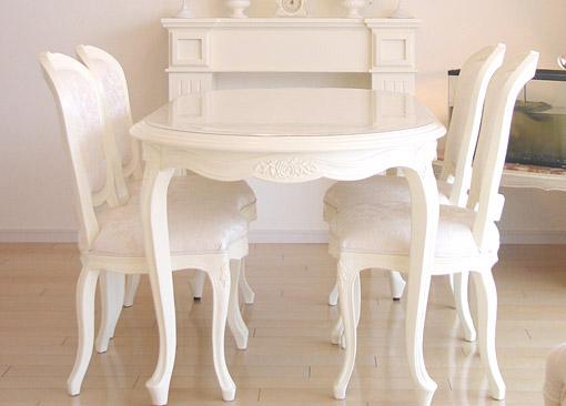 輸入家具 オーダー家具 プリンセス家具 ロココ調 猫脚 薔薇 ダイニングテーブル 160 ホワイト
