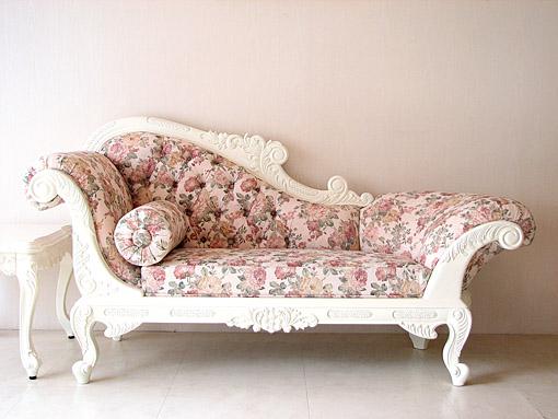 オーダー家具■プリンセス家具■カウチソファ■W170cm■ホワイト■薔薇柄