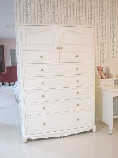 輸入家具 オーダー家具 プリンセス家具 ハイチェストW120cm ホワイトシェルの彫刻