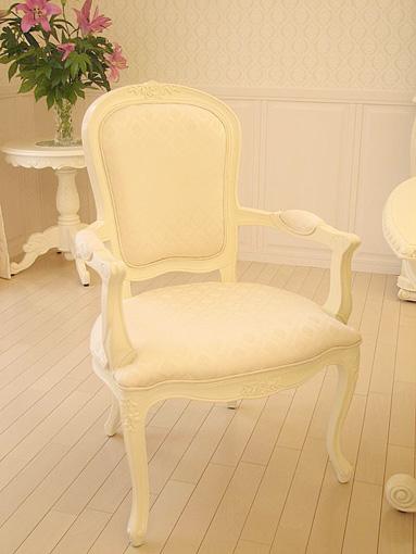 輸入家具■オーダー家具■プリンセス家具■アームチェア■薔薇の彫刻■ホワイト■ダイヤ柄