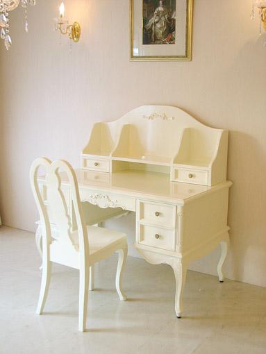 輸入■オーダー家具■プリンセス家具■プリマヴェーラ■学習机■オードリーリボンの彫刻■ホワイトグロス色