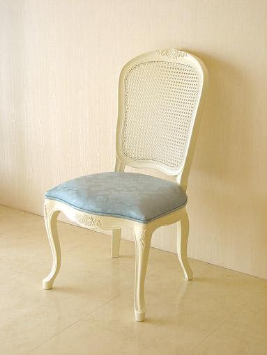 輸入家具■オーダー家具■プリンセス家具■ラタンチェア■薔薇の彫刻■座面布張り■ホワイト色■アン(ブルー)の張り地