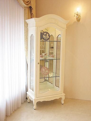 輸入家具■オーダー家具■プリンセス家具■ラ・シェル■ショーケース■薔薇の彫刻■ホワイト色