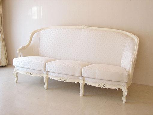 【おすすめ】 輸入家具 オーダー家具 プリンセス家具 ベルサイユ 3Pソファ ホワイト色 ホワイトダイヤ柄の張り地, 全品送料0円 2b2e4500