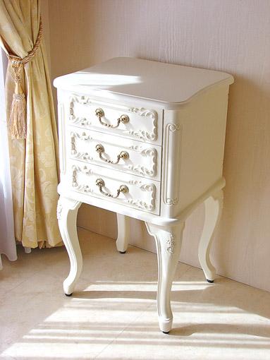 輸入家具 オーダー家具 プリンセス家具 スモールチェスト 薔薇の彫刻 ホワイト色