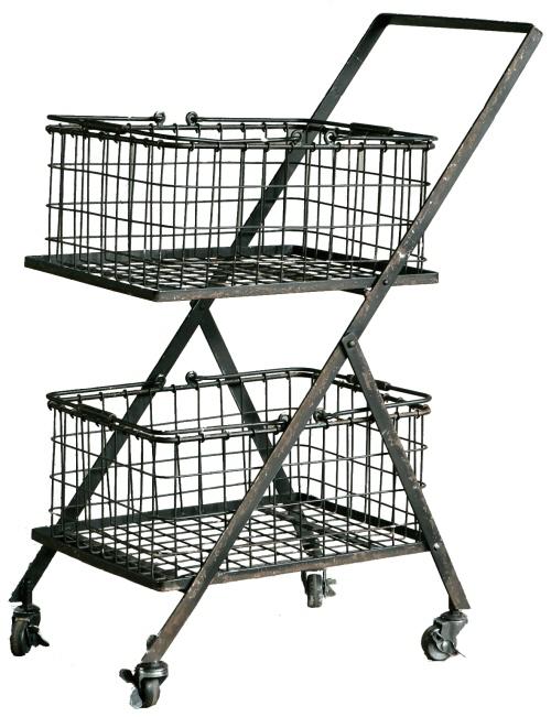 【送料無料】Dual basket cart デュアルバスケットカート インテリア キッチンワゴン キッチンラック キッチン バスケット ワイヤー 収納 s255-43 【ダルトン DULTON】 【西海岸 インダストリアル】