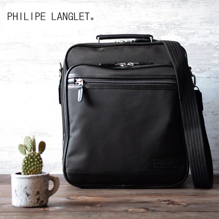 ショルダーバッグ メンズ 本革付属 斜めがけ A4 縦型 日本製 豊岡 黒 大人 30代 40代 50代 60代 70代 ファッション ギフト プレゼント 父の日 かっこいい カジュアル 旅行 買い物 お出かけ PHILIPE LANGLET フィリップラングレー 33703 送料無料