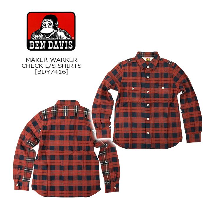 BEN DAVIS(ベンデーヴィス) MAKER WORKER L/S SHIRTS [BDY-7416] RED長袖 チェックシャツ ネルシャツ アメカジ ゴリラ ベン 日本製