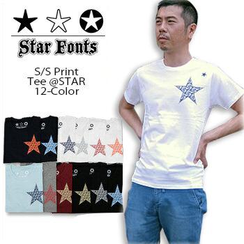 メール便送料無料 メール便 代引 指定 同梱不可 Star Fonts スターフォンツ 未使用 販売期間 限定のお得なタイムセール S TEE @ クルーネック メンズ \4 半袖 180 星柄 Tシャツ smtb-kd SF-10119 星