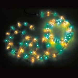 【SS】ジェフコム 屋外用 LEDソフトネオン 長さ: 16m 75mmピッチ 緑×黄 PR3L-E24-16GY
