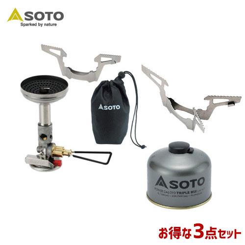 SOTO/ソト レギュレーターストーブウィンドマスター&パワーガス&ゴトク3点セット アウトドア・キャンプ用品 SOD-310 SOD-725T SOD-461