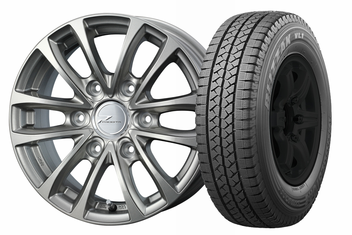 15インチ スタッドレスタイヤ ホイールセット【適応車種:NV350キャラバン(E26系)】WEDS  プロディータ HC チタンシルバー 5.5Jx15ブリザック VL1 195/80R15 107/105L