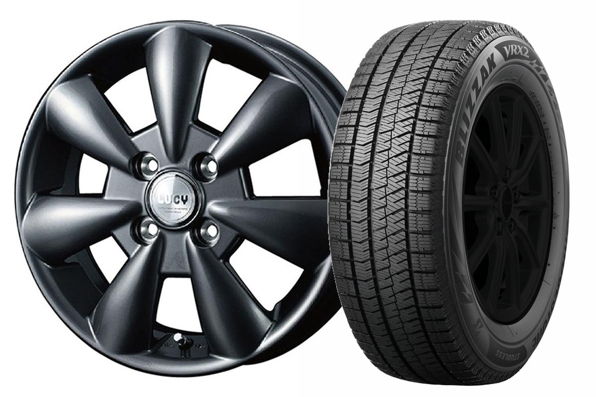 14インチ スタッドレスタイヤ ホイールセット【適応車種:デリカD:2(MB15F)】WEDS  ルーシー LUCY ガンメタ 4.5Jx14ブリザック VRX2 165/65R14