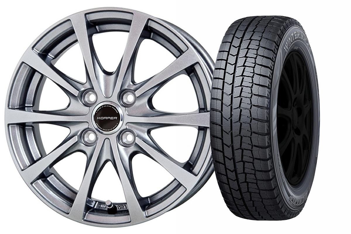 16インチ スタッドレスタイヤ ホイールセット【適応車種:ブルーバード シルフィ(G11系)】KORPER ケルパー GT ダークシルバー 6.0Jx16WINTER MAXX WM02 195/60R16