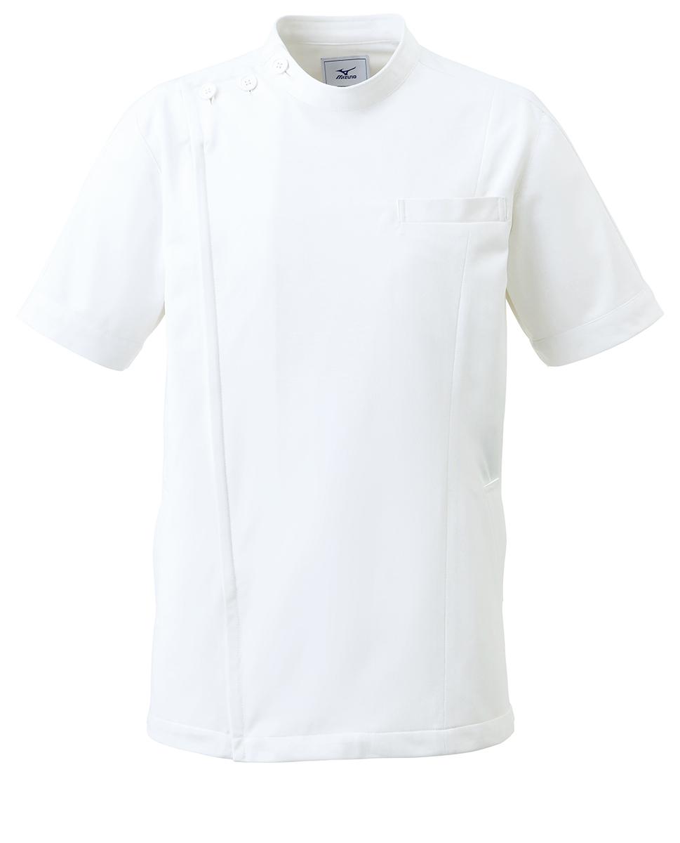【unite×ミズノ】MZ-0069 男女兼用ケーシージャケット KC 白衣 半袖上衣 Dynamotion Fit 白衣