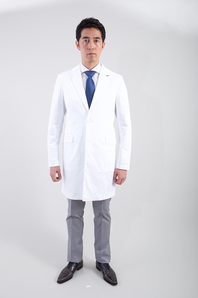 白衣 klug KM-002 ハイクラス ピークドラペルコート 男性用 メンズ 診察衣
