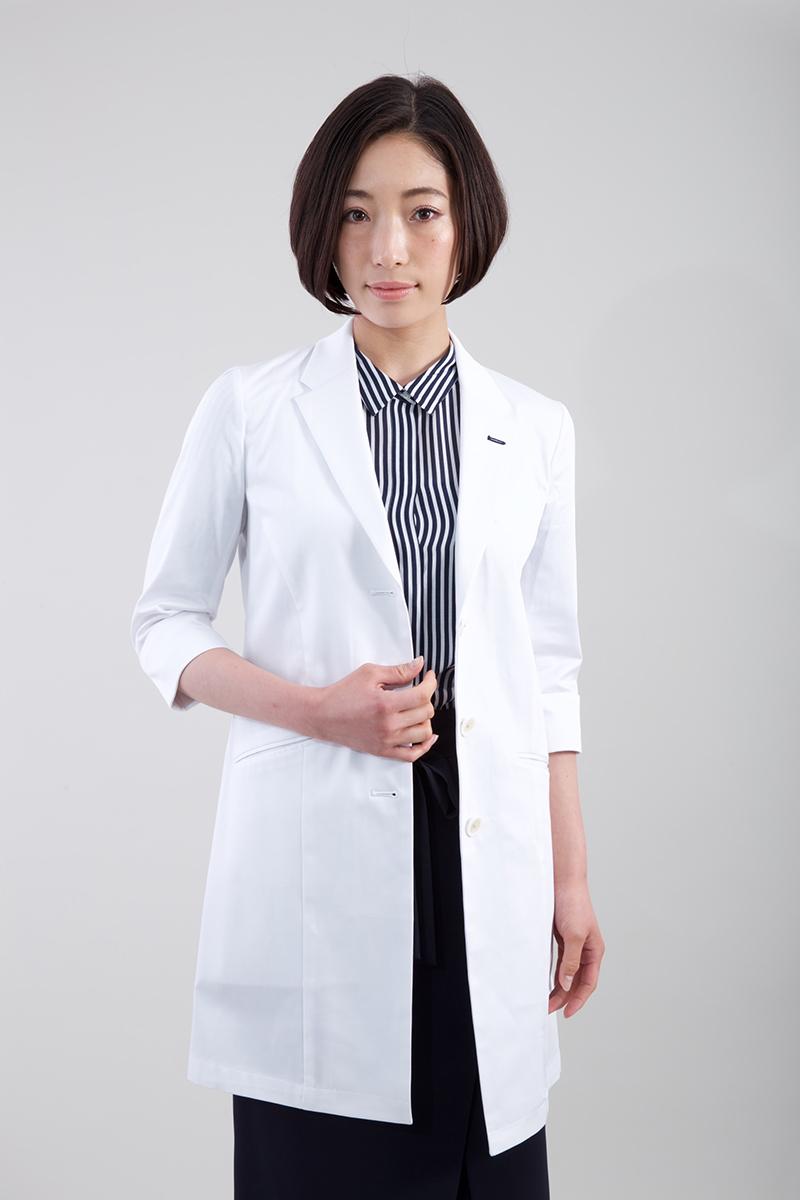 抗菌 抗ウイルス効果の高いクレンゼ加工白衣 価格 白衣 klug お求めやすく価格改定 KW-002 ハイクラス 3 4 診察衣 レングス スリーブ 女性用 コート レディース