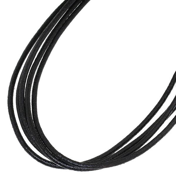 (ブルガリ)BVLGARI 5連 レザー チョーカー ブラック ネックレス【中古】