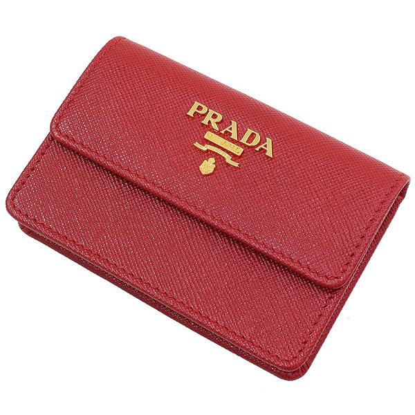 (プラダ)PRADA サフィアーノレザー カードケース 箱ギャラ 赤 1M0881【中古】